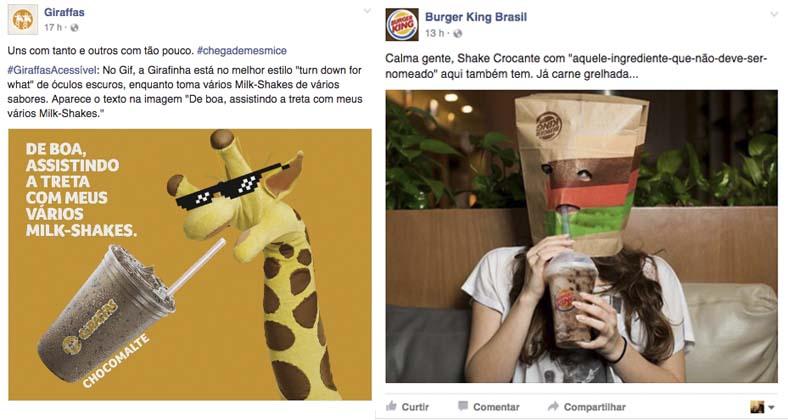 Burguer King e Giraffa's também se posicionaram na briga dos Fast Foods